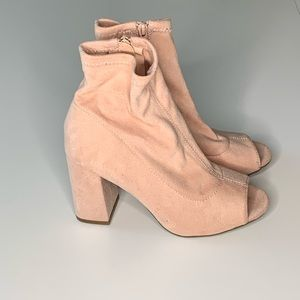 Faux Suede Light Pink Open Toe Booties